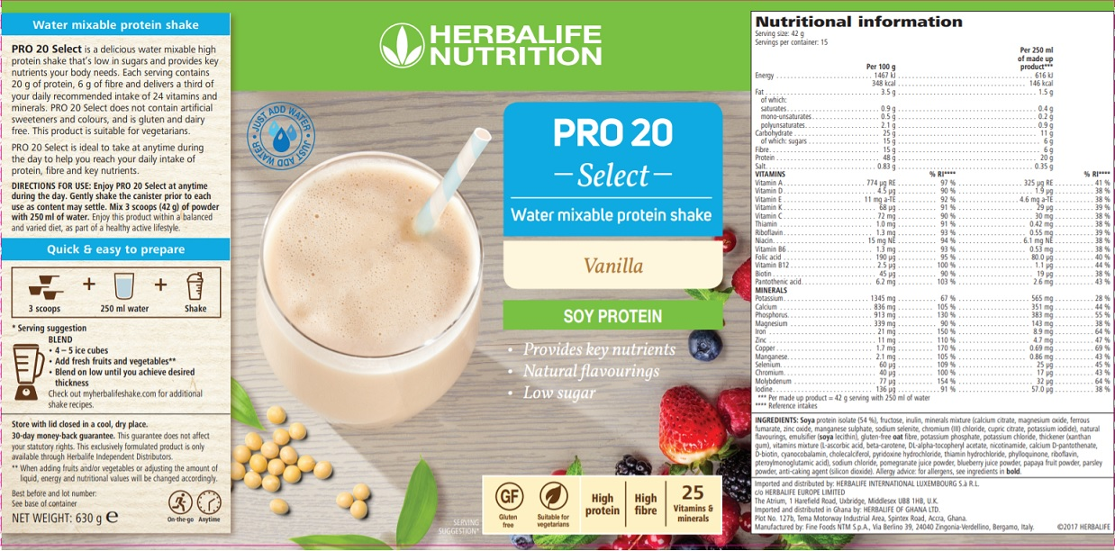 Nutritional Information Herbalife PRO 20 Select