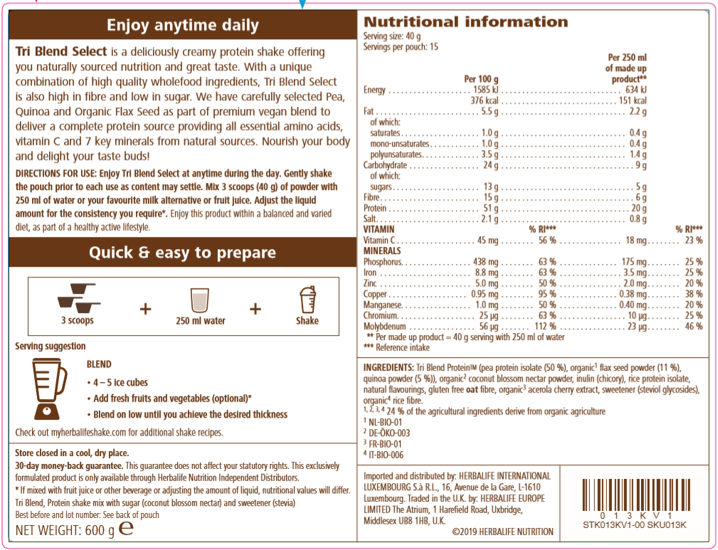 Nutritional Information Herbalife Tri Blend Select