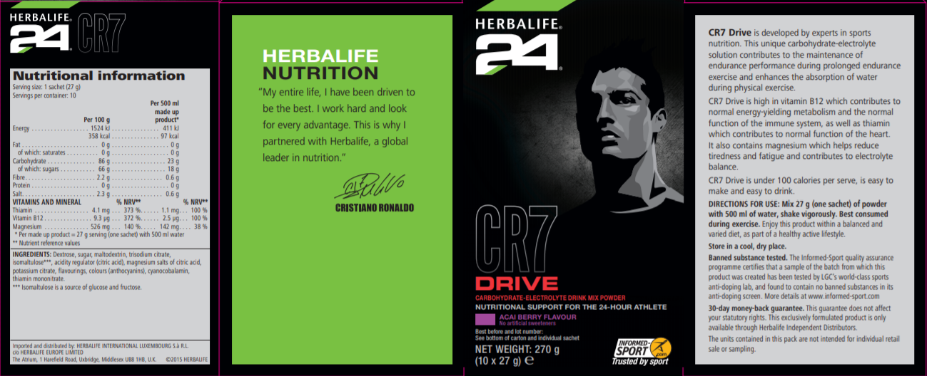 Nutritional Information Herbalife CR7