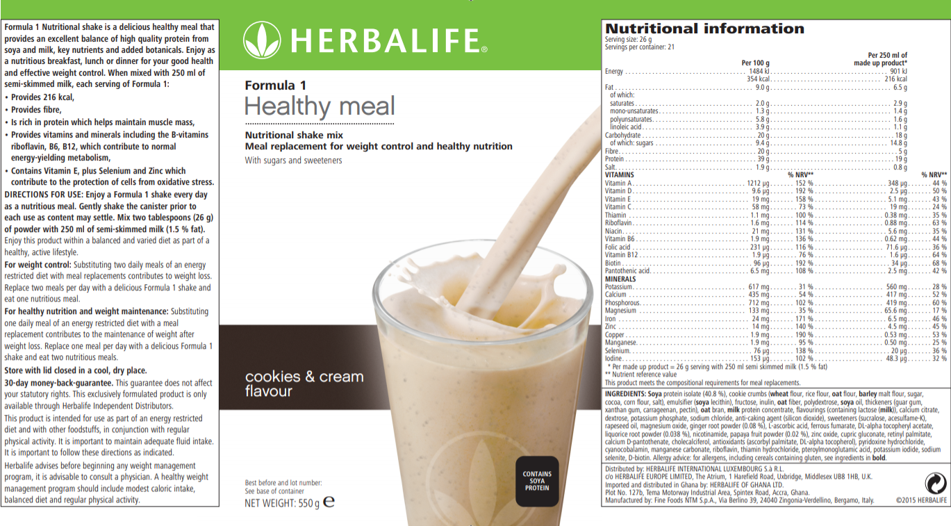 Nutritional Information Herbalife Formula 1 Nutritional Shake Mix Cookies & Cream 550 g