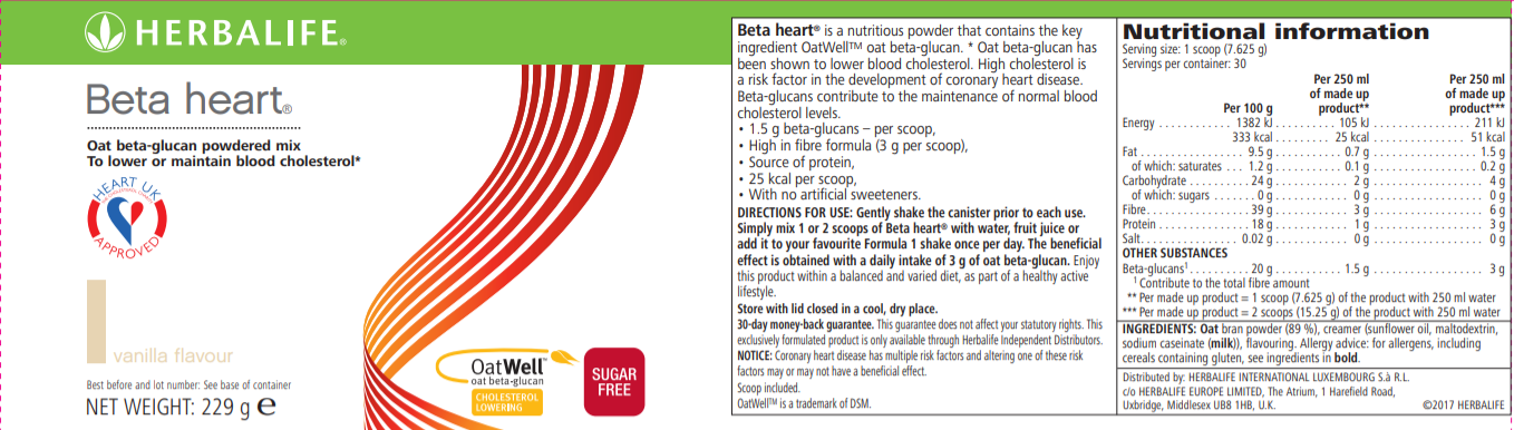 Nutritional Information Herbalife Beta Heart