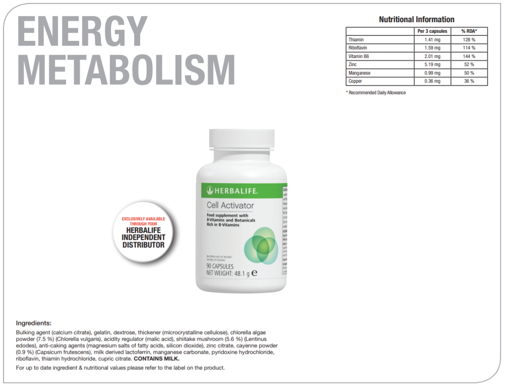 Nutritional Information Herbalife Cell Activator