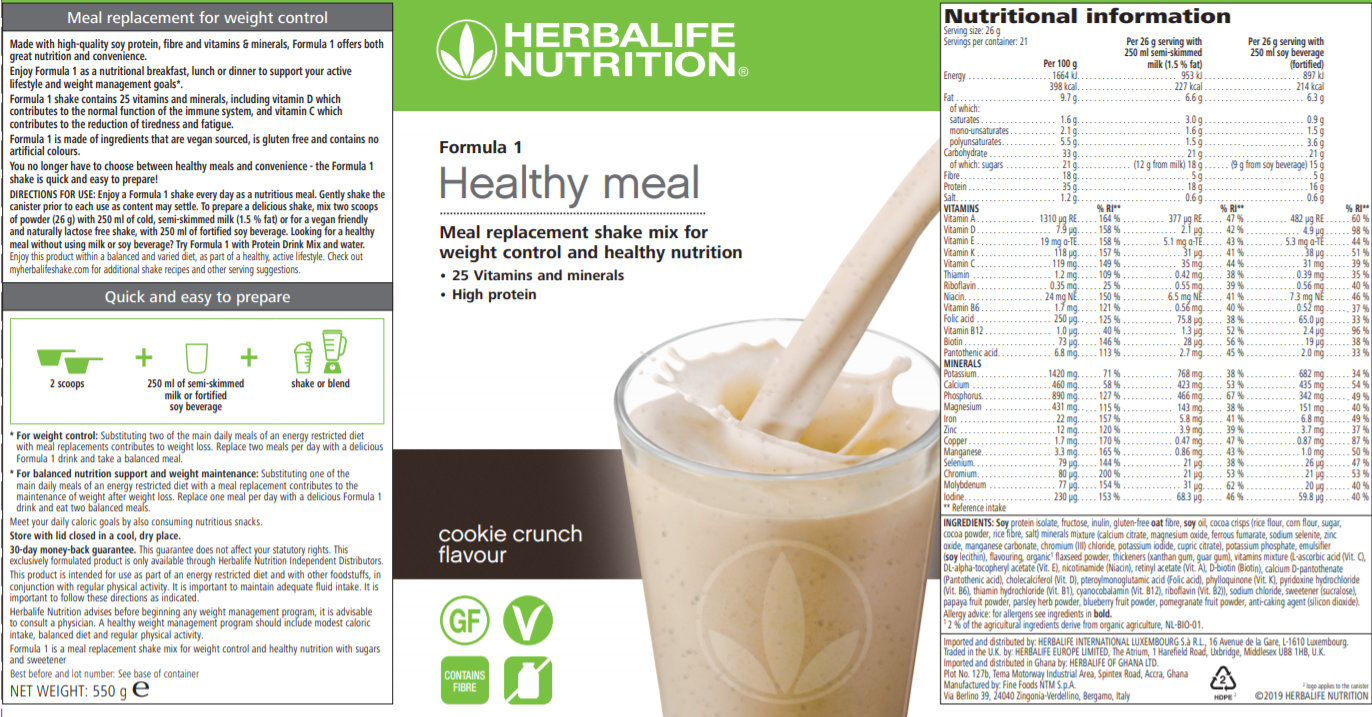 Nutritional Information Herbalife Formula 1 Cookie Crunch