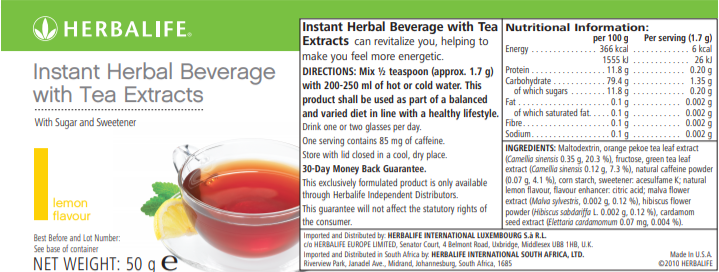 nutritional information Instant Herbal Beverage with Tea Extracts lemon 50 gram