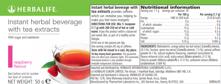 Nutritional Information Herbalife Instant beverage with tea extracts 50 g raspberry