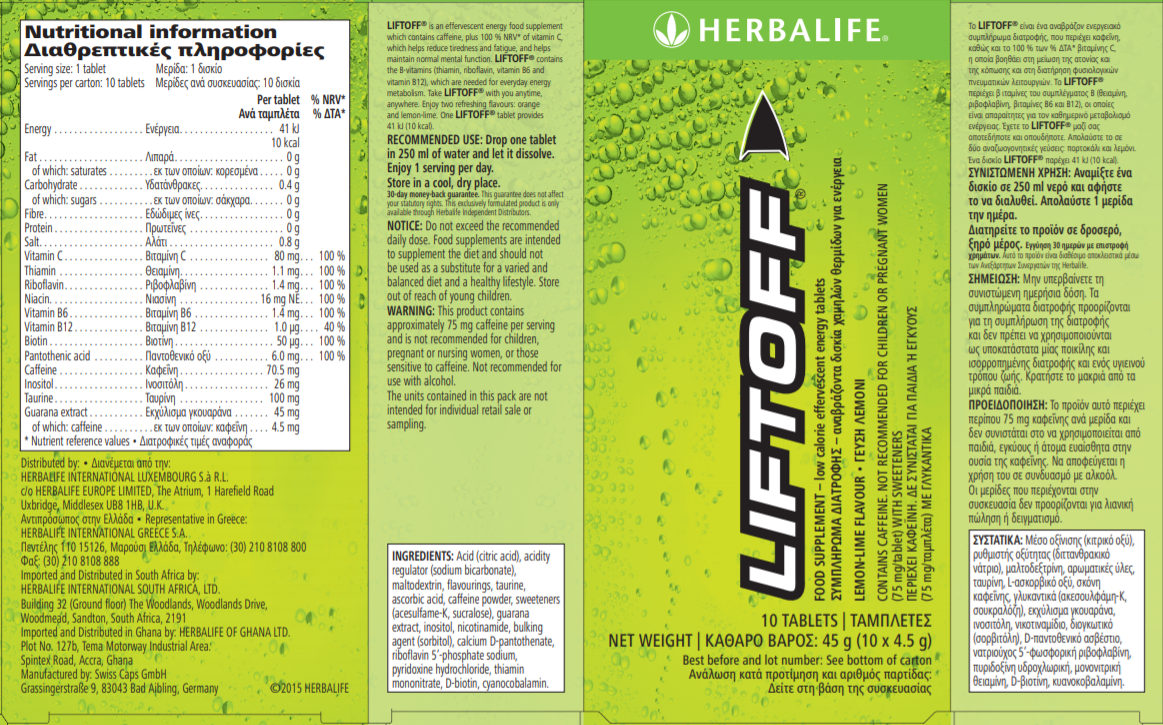 Nutritional Information Herbalife Liftoff