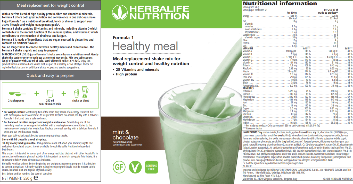Nutritional Information Herbalife Mint