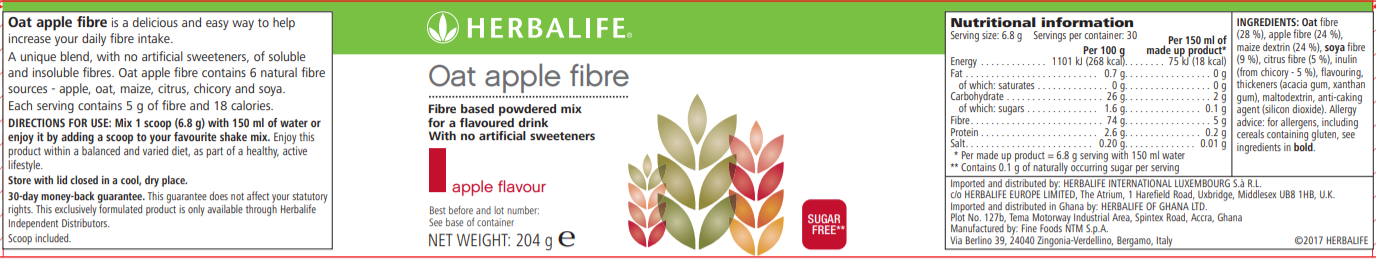 Nutritional Information Herbalife Oat Apple Fibre