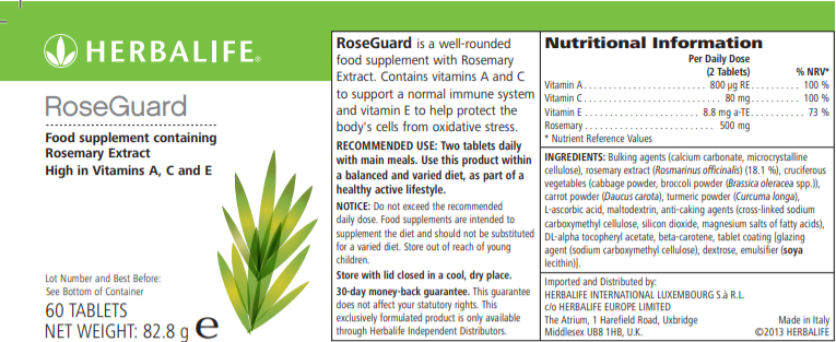 Nutritional Information Herbalife RoseGuard