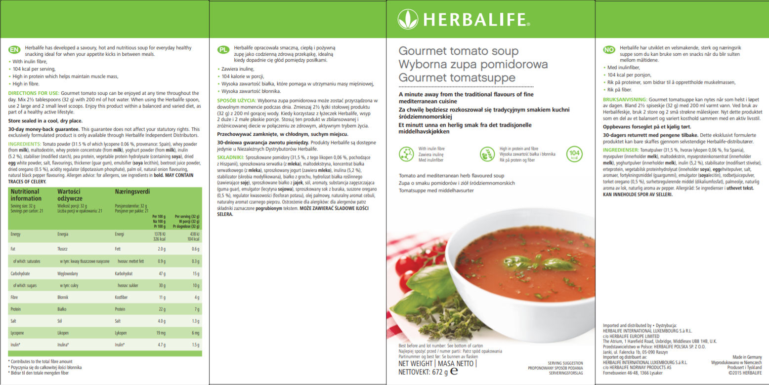 Nutritional Information Herbalife Tomato soup