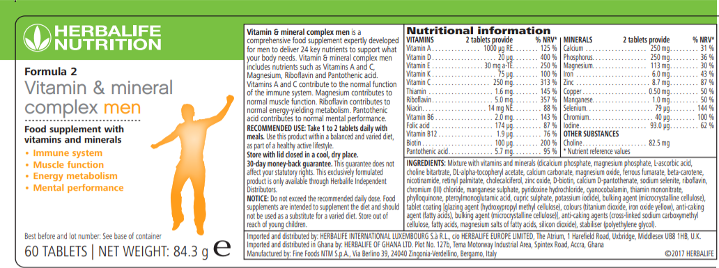 Nutritional Information Herbalife Formula 2 - Vitamin & Mineral Complex Men's 60 tablets