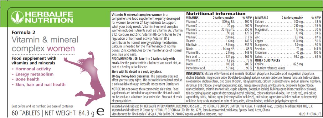 Nutritional Information Herbalife Formula 2 - Vitamin & Mineral Complex Women's 60 tablets
