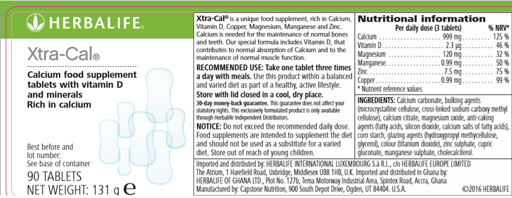 Nutritional Information Herbalife Xtra Cal