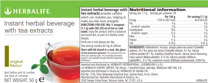 Nutritional Information Herbalife Instant beverage with tea extracts 50 g original