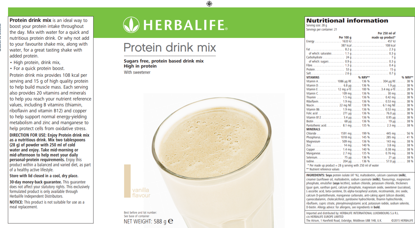 Nutritional Information Herbalife Protein drink mix