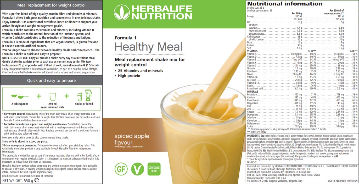 Nutritional Information Herbalife Formula 1 Spiced Apple