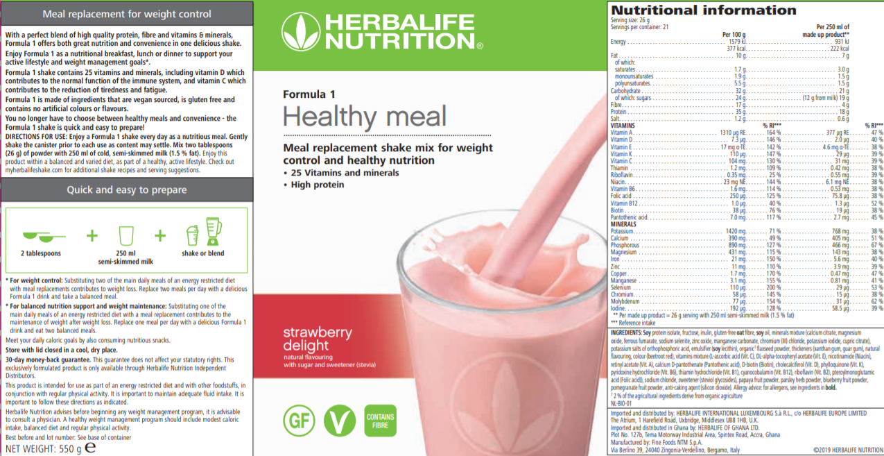 Nutritional Information Herbalife Formula 1 Strawberry Delight