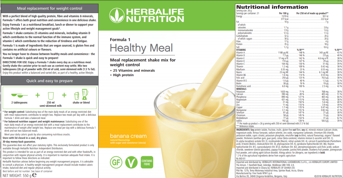 Nutritional Information Herbalife Formula 1 Nutritional Shake Mix Banana Cream 550 g