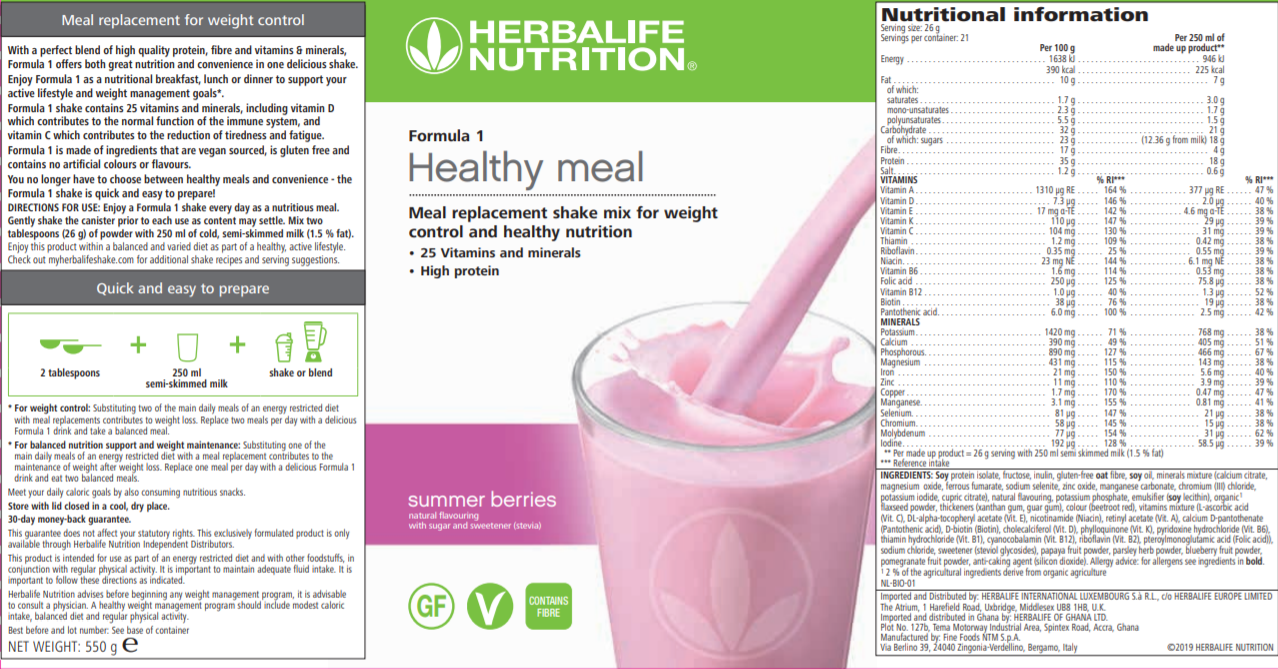Nutritional Information Herbalife Formula 1 Summer Berries