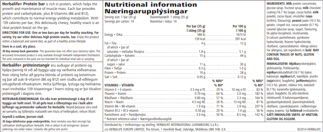 Nutritional Information Herbalife Bars