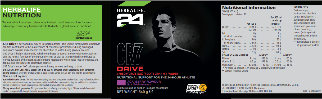 Nutritional Information Herbalife CR7 Drive