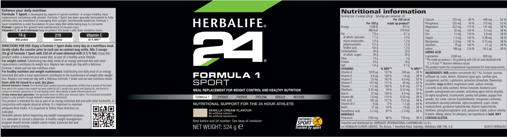 Nutritional Information Herbalife Sport